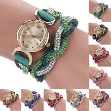 Women's Chic Trendy Two Tone Rhinestone Wrap Faux Suede Bracelet Wrist Watch