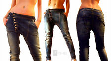 if she Damen Boyfriend Hüft Jeans Hose used effekt Chino Baggy Aladin Stretch