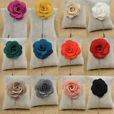 1Pcs Lapel Flower Daisy Handmade Boutonniere Stick Brooch Pin Men's Accessories