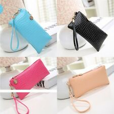 Women Alligator Candy Color Leather Clutch Bag Wallet Cell Phone Purse Girls New