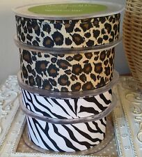 22 / 38 mm Leopard or Zebra Print Grosgrain Ribbon by May Arts. Hair Bow Craft