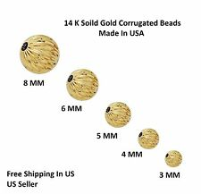 14 K Solid Gold Corrugated Bright Hollow Beads / Made In USA / Modern