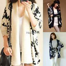Loose Geometric Pattern Womens Capes Knit Top Sweater Cardigan Jacket HE8Y Coat