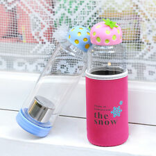 Just Life Cute Strawberry Glass Water Bottle with Tea Fruit Infuser Sleeve 450ml
