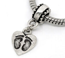 Wholesale Lots Footprint Carved Heart Dangle Beads Fit Charm Bracelet