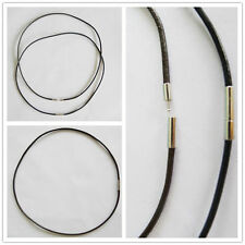 Hot 10/50/100Pcs DIY 3mm Balck Real Leather Cord Necklace W Bayonet Clasps #2