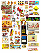 1: 24 1:18 VINTAGE HOT DOG SIGN DECALS FOR DIECAST & MODEL CARS  DIORAMAS