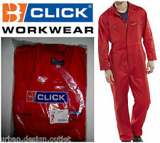 Click Workwear Red Boilersuit Heavy Duty Mechanic Mens Overalls Coverall NEW