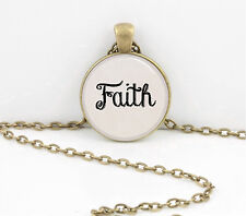 "Word Necklace, ""Faith"" hand lettered font pendant necklace jewelry gift"