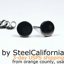 Mens black stud earrings, stainless steel post earrings, round simple studs