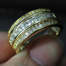 Size 8-13 NICE Mens Jewelry White Sapphire 10KT Gold Filled Band Ring Best Gift