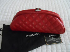 Auth CHANEL 14S Red Caviar Leather Timeless Quilted Clutch Bag
