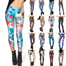 2015 Women Skinny Leggings Graphic Printed Stretchy Jeggings Pencil Tight Pants