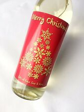 PERSONALISED CHRISTMAS GOLD SNOWFLAKE WINE, CHAMPAGNE, BEER, LAGER BOTTLE LABEL