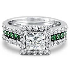 BERRICLE Sterling Silver Princess CZ Halo Engagement Insert Ring Set 2.36 Carat