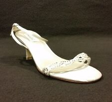 Dyeables Amber White Strappy Satin Pump Shoe