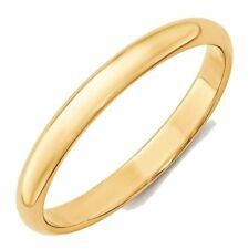 3mm 10K Yellow Gold Comfort Fit or Half Round Wedding Ring Band Size 5-13