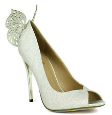 Eve-01 Gold Silver Glitter Peep toe Bridal Butterfly Pump Stiletto Heels