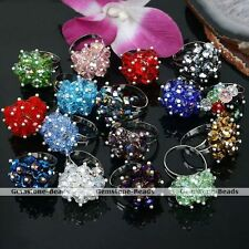 1PC Faceted Crystal Glass Beads Adjustable Finger Ring US6 Jewelry Gift