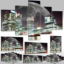 LEINWAND BILDER CANVAS WANDBILD KUNSTDRUCK LANDSCHAFT STADT ERDKUGEL NIGHT CITY