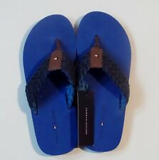 Tommy Hilfiger Blue Multi-Fabric Flip Flops Sandals.