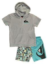 Quiksilver Toddler Boys Gray Hooded Towel Top 2pc Board Short Set Size 2T 3T 4T