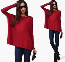 Bamboo Piko Burgundy Wine Long Sleeved T-Shirt Loose Slouch Boat Neck Loose NWT