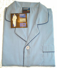 Men's Pyjama Set. Poly/Cotton. Lt Blue with Piping. Full Length Button Front.