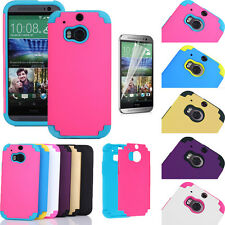 Hybrid Ultra Thin Rubber Plastic Colorful Hard Case Cover For HTC One M8 w/ Film