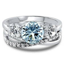Silver Simulated Aquamarine CZ 3-Stone Criss Cross Engagement Ring Set 3.57 CT