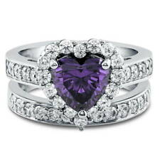 Silver Heart Shaped Simulated Amethyst CZ Halo  Engagement Ring Set 2.82 CT