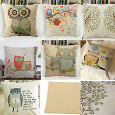 Vintage Linen Cotton OWL Cushion Cover Sofa Bed Home Car Decor Throw Pillow Case