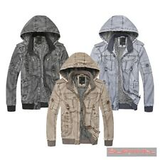NEW MENS JACKET FAUX LEATHER OUTER WEAR DETACHABLE HOOD DESIGNER SIZE S-M L-XL