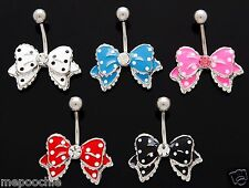 Ribbon Bow Tie Belly Ring Surgical Steel With CZ Pick Your Color