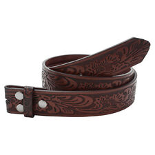 Brown Embossed Western Tooled Leather Belt Strap With Snap For Buckles