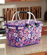 COLLAPSIBLE INSULATED SHOPPING PICNIC BASKET CRAFT SUPPLY STORAGE TOTE 3 DESIGNS