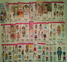 "New Simplicity Patterns American made for 18"" Girl Doll Clothes (pick a pattern)"