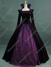 Renaissance Velvet Regal Queen Period Dress Gown Reenactment Clothing Punk 325