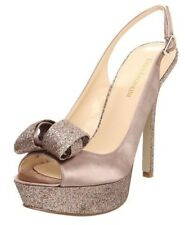 Enzo Angiolini Women's Trace Peep Toe Slingback Glitter High Heels Taupe Size 9