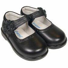 Girls Toddler Childrens Real Leather Shoes - Matt Black School Shoes with Velcro