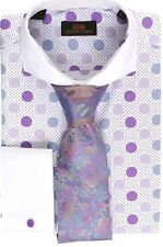Steven Land Men's Polka Dot Purple 100% Cotton Cuff Dress Shirt Style#DS1245