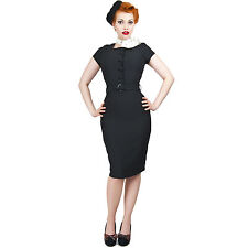 Collectif Simone Black Crepe Fitted Vintage 50s Pencil Wiggle Dress