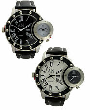 AN London ARMY/Military Design Dual Time Zone Leather Strap Men's Wrist Watches
