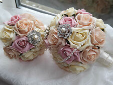 BEAUTIFUL Bride Bridesmaid Rose Brooch Bouquets red/ivory/pink/purple/blue/black
