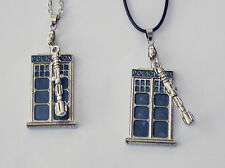 Doctor Who Tardis with Sonic Screwdriver Necklace US Seller