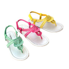 JB-SIRA Child Girl Kids Strap T-Strap Thong Sandals Flat Velcro Shoe Size 9~4