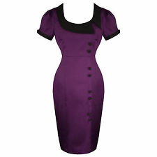 Purple Kitsch Pinup Rockabilly Vintage 50s Style Fitted Pencil Dress