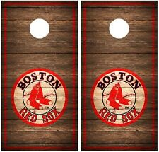 Boston Red Sox Vintage Wood Cornhole Board Decal Wrap Wraps (brown)