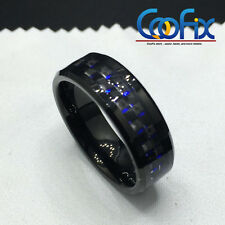 8mm Black and Blue Tungsten Ring with Carbon Fiber Wedding Band Men's jewelry
