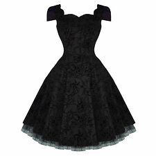 Hearts and Roses London Black Tattoo Flare 50s Vintage Party Prom Swing Dress